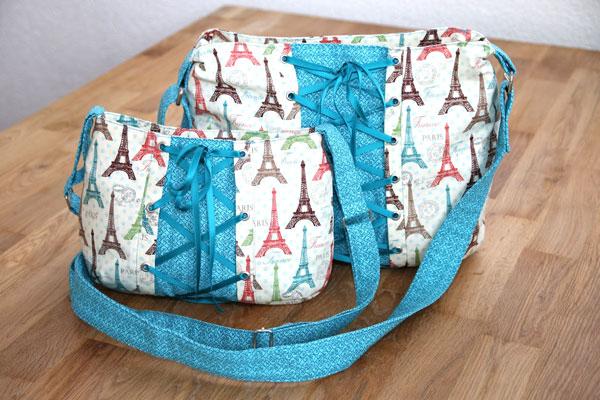schnittmuster handtasche roxxanne mit reißverschluss und schnürung