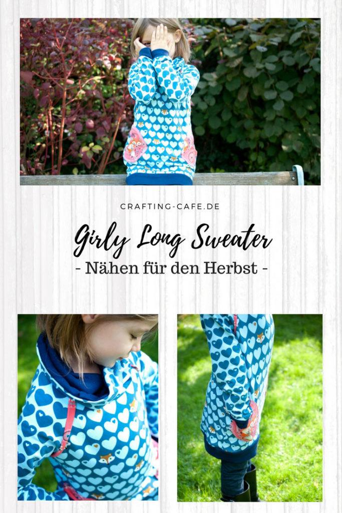 Girly Longsweater Pulli für Mädchen nähen