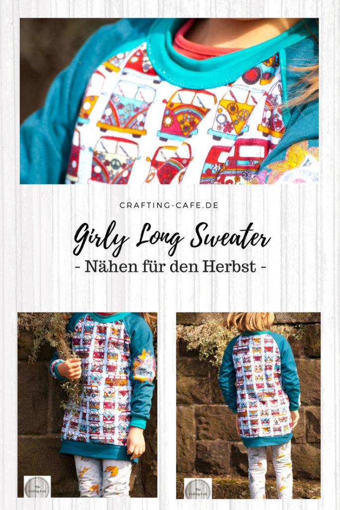 Pulli für Mädchen nähen, Schnittmuster Long Sweater, Girly Long Sweater, Herbst Pulli nähen