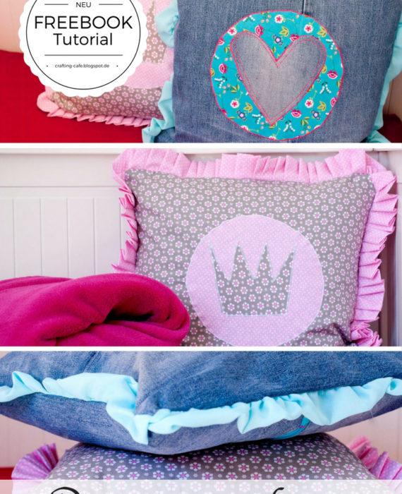 prinzessinnenkissen kissen mit r sche n hen the crafting caf. Black Bedroom Furniture Sets. Home Design Ideas