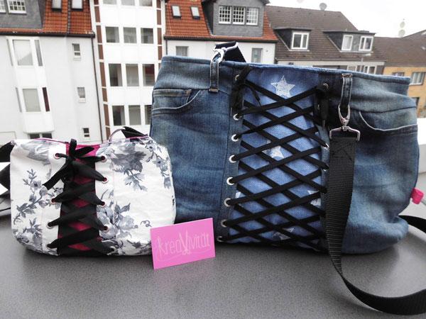 Handtasche aus Jeans und aus Baumwolle