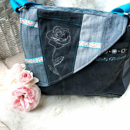 messenger bag upcycling jeans tasche